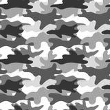Zwart-witte camouflage Het maskeren camo Klassieke kledingsdruk Vector naadloos patroon vector illustratie