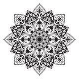 Zwart-witte cirkelpatroon of mandala Royalty-vrije Stock Afbeeldingen