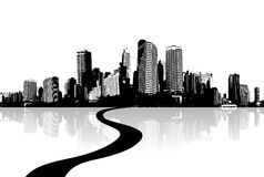 Zwart-witte cityscape Royalty-vrije Stock Foto