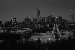 Zwart-witte cityscape van Edmonton, Alberta, Canada stock foto's