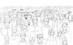 Zwart-witte contour van een menigte van mensen die met de hand met een voering op een witte achtergrond met een leeg gebied op bo stock illustratie