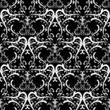 Zwart-witte damastornamenten Stock Fotografie