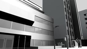 Zwart-witte de animatie stedelijke bouw stock footage