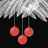 Zwart-witte de ballenillustratie van Kerstmis met Royalty-vrije Stock Afbeelding