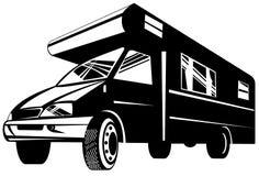 Zwart-witte de bestelwagen van de kampeerauto royalty-vrije illustratie
