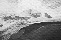 Zwart-witte de close-up abstracte achtergrond van kunstenaarsolieverven stock foto