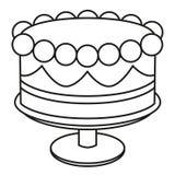 Zwart-witte de verjaardagscake van de lijnkunst op tribune stock illustratie