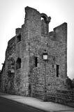 Zwart-witte de Vestingsruïnes van Luxemburg - stock afbeeldingen
