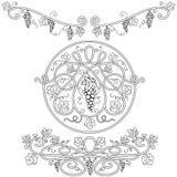 Zwart-witte decoratieve elementen Stock Afbeelding