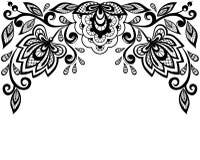 Zwart-witte die kantbloemen en bladeren op wit worden geïsoleerd Stock Foto's