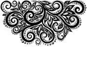 Zwart-witte die kantbloemen en bladeren op wit worden geïsoleerd. Bloemenontwerpelement in retro stijl. Royalty-vrije Stock Fotografie