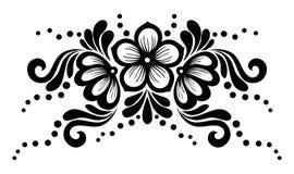 Zwart-witte die kantbloemen en bladeren op wit worden geïsoleerd. Bloemenontwerpelement in retro stijl. Royalty-vrije Stock Foto's