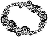 Zwart-witte die kantbloemen en bladeren op wit worden geïsoleerd. Bloemenontwerpelement in retro stijl. Royalty-vrije Stock Foto