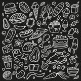 Zwart-witte die krabbel met voedsel wordt geplaatst Zeevruchten, vlees, burgers, noedel, groenten en snoepjes stock illustratie