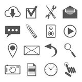 Zwart-witte die pictogrammen voor Web en mobiele toepassingen worden geplaatst Stock Foto