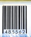 Zwart-witte die streepjescode op een huismuur wordt geschilderd royalty-vrije stock foto's