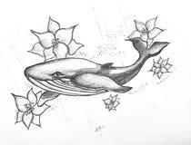 Zwart-witte dolfijn riunk en bloemen royalty-vrije illustratie