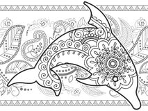zwart-witte dolfijnhand getrokken krabbel royalty-vrije stock foto