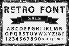 Zwart-witte doopvont van de Grunge de uitstekende inkt Oude stijlbrieven Stock Foto