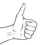 Zwart-witte duimen omhoog Stock Afbeelding