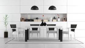 Moderne Zwart-witte Eetkamer Stock Afbeelding - Afbeelding: 29895469