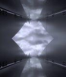 Zwart-witte eigentijdse weerspiegeling van rond gemaakte architectuur Royalty-vrije Stock Fotografie