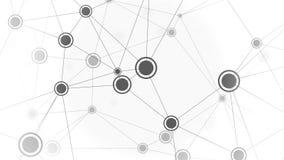 Zwart-witte elementen van dynamisch netwerk, lijn Conceptuele animatie stock illustratie