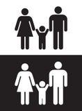 Zwart-witte Familie Stock Afbeelding