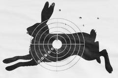 Zwart-witte foto het geschotene doel voor het schieten van pneumatisch in de vorm van een haas royalty-vrije stock foto's