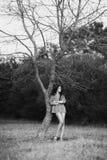 Zwart-witte foto van een mooi model met lang haar royalty-vrije stock foto's