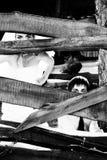 Zwart-witte foto van jonggehuwden Royalty-vrije Stock Afbeelding