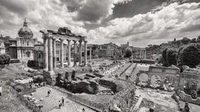 Zwart-witte foto van Roman Forum in Rome, Italië royalty-vrije stock fotografie