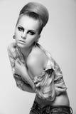 Zwart-witte fotografie van portefeuillemodel Stock Foto's