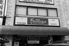 Zwart-witte Francaise-Bakkerij, Los Angeles stock fotografie