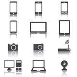 Zwart-witte gadgetvector Stock Foto's