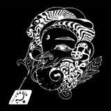 Zwart-witte ganeshaillustratie Ganapati en wierook Krijt op een bord royalty-vrije illustratie