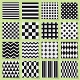 Zwart-witte geometrische naadloze geplaatste patronen Royalty-vrije Stock Fotografie