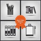 Zwart-witte geplaatste kantoorbehoeftenpictogrammen Stock Afbeeldingen
