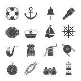 Zwart-witte geplaatste zeilenpictogrammen anker Royalty-vrije Stock Afbeelding