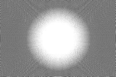 Zwart-witte gestippelde gradiënt met lege ruimte in centrum De achtergrond van de contrasthalftint Royalty-vrije Stock Afbeeldingen