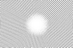 Zwart-witte gestippelde halftone Halftintachtergrond Witte centrumcirkel gestippelde gradiënt Stock Fotografie