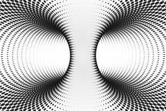 Zwart-witte gestippelde spiraalvormige tunnel Gestreepte verdraaide bevlekte optische illusie Abstracte halftone achtergrond 3d g royalty-vrije illustratie