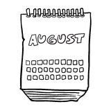 Zwart-witte getrokken beeldverhaalkalender die uit de vrije hand augustusmaand tonen Stock Foto
