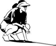 Zwart-witte golfvrouw Stock Afbeelding