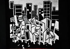 Zwart-witte graffiti stock foto's
