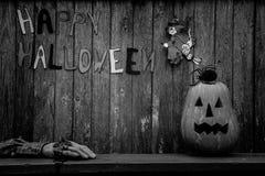 Zwart-witte Halloween-achtergrond Royalty-vrije Stock Afbeelding