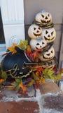 Zwart-witte Halloween-Pompoenen stock fotografie