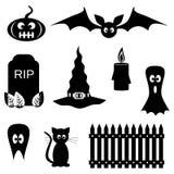 Zwart-witte Halloween-symbolen Royalty-vrije Stock Afbeeldingen