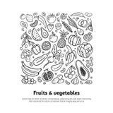 In zwart-witte hand-drawn vruchten en groenten Gezond voedselthema in organische krabbelstijl met editable teksten royalty-vrije illustratie
