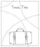 Zwart-witte hand getrokken kofferbanner, vector Stock Fotografie